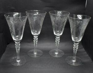 Vintage Wine Glasses Depression Era Goblets Stemware Set of 4 Ribbed Stem