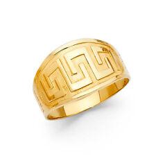 Women 14k Yellow Real Gold Plain Diamond Cut Vintage Fashion Fancy Ring Band