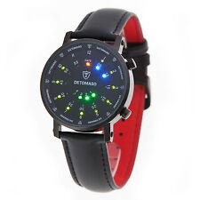 DETOMASO Spacy Timeline Orologio Uomo Binario LED Acciaio Nero Pelle Data Nuovo