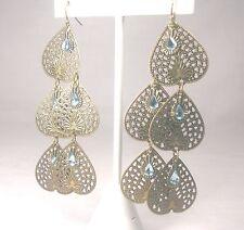 Triple Tiered Bronze Dangle Earrings w/ Blue Faux Topaz beading