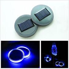 2 Pcs Car SUV Truck Solar Energy Cup Holder Bottom Pad Mat Blue LED Light Cover