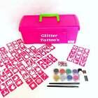 Princess Glitter Tattoo Kit - 96 Stencils Glitter glue Brushes Storage Box