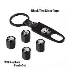 Car Wheel Tyre Tire Stem Air Valve Caps Dust Covers Key Chain Set Skull Punisher
