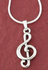 Treble Clef Necklace New Silver Plated Charm Pendant and Chain Music jewellery