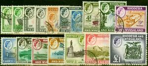 Rhodesia & Nyasaland 1959-62 Extended Set of 17 SG18-31 Fine Used