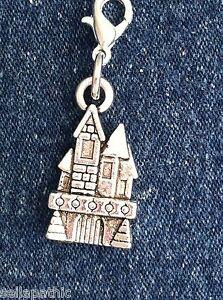 "Castle Antiqued Silver Charm Bookmark Bracelet Scrapbooking 2 Sided 3/4"""