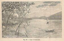 A1506 Lago di Caldonazzo - Xilografia - Stampa Antica del 1895 - Engraving