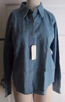 NWT Antigua Chambray Blue Jean Denim Long Sleeve Shirt Womens M 403108 054 Den