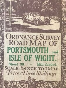 Antique Map of Portsmouth, Isle of Wight and Southampton. 1914.