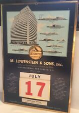 VINTAGE 40-50's LOWENSTEIN & SONS COTTON & FABRIC ADVERTISING WALL CALENDAR