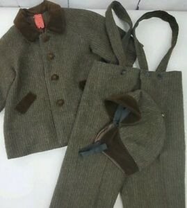 Vtg Boys Brown Tweed Wool Lined Coat Pants Suspenders Hat Hand Made Velvet Trim
