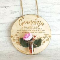 Personalised Wooden Plaque With Flower Grandma Mothers Birthday Gift