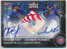 2016 Topps Now KRIS BRYANT-ADDISON RUSSELL (11/1/16) Dual Auto Relic BLUE #25/49