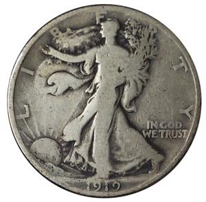 1919 Walking Liberty Half Dollar, Very Good (VG), 90% Silver. Rare Date.