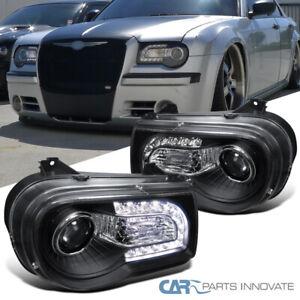 For 05-10 Chrysler 300C Matte Black LED DRL Bar Projector Headlights Signal Lamp