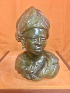 Verdite female Shona stone Bust by Nicholas Tandi, rare green verdite