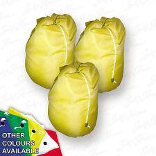 3 x Large Heavy Duty Drawstring Laundry Bag Sack Commercial Storage Yellow