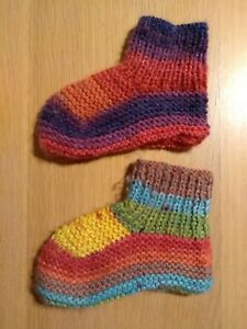 HANDMADE Rainbow Coloured Thick Knitted Warm Winter Socks Slippers Size 10-11