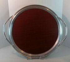 Mid Century Modern Metal & Wood Drink / Serving Tray With Twist Handles