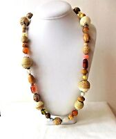 "Vintage Wood Glass & Lucite Brown & Amber Tone Beaded Necklace 36"" Long"