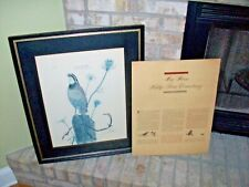 Ray Harm Print Lithograph 1964 EASTERN BOB WHITE on Fencepost Framed