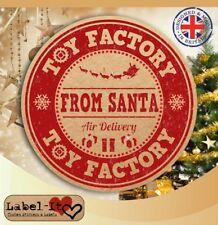 CH18 24x 40 mm Santa Toy Factory Noël Cadeau Kraft Sticker/Étiquette/carte cachet sceau