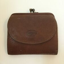 Fossil Brown Leather Wallet Kisslock Coin Purse ID Slot