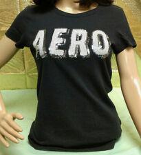 Aeropostale Jr Girls Size M Black Short Sleeve T-Shirt Sequin Logo Crew Neck Top