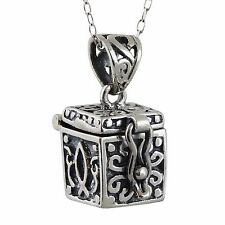 Prayer Box Charm Necklace (Top Opens) 925 Sterling Silver - Cross Hope Chest NEW