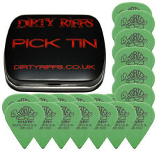 24 X Dunlop Tortex Sharp Guitar Picks / plectrums - 0,88 mm Verde en un Pick Tin
