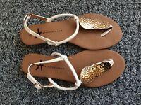 Ladies Summer Sandals Flat Shoes. Size UK 6 Eur 39