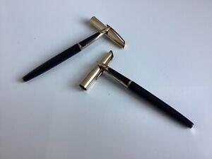 2 stylos plumes Waterman laqué noir plume or 18 carats