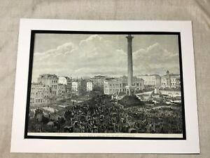 Antique Print Trafalgar Square London Military Parade 1882 LARGE Victorian