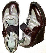 Pristine TSUBO olive khaki brown gray wedge sneaker maryjane babydoll  37 6.5 7