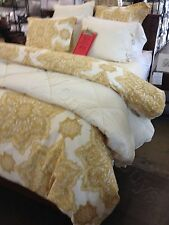 Pottery Barn Britt Duvet Cover Queen Yellow Gold 2 Standard Shams Medallion New