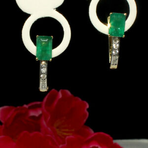 Natural Emerald Octagon Stone Gold Plated 925 Solid Silver Women Stud Earrings