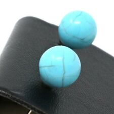 3 Ct Natural Round Turquoise Stud Earrings Women Holiday Birthday Jewelry Gift