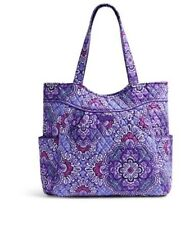 NWT Authentic VERA BRADLEY Pleated Tote Purse Handbag Lilac Tapestry Purple