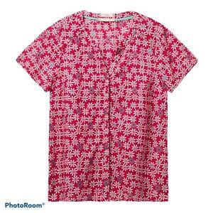 🌻White Stuff  Blouse Shirt Size 10 Dark Pink Aqua Cotton 🌺