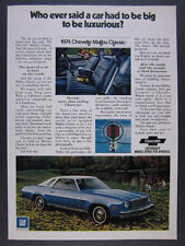 1974 Chevrolet Chevelle Malibu Classic blue car photo vintage print Ad
