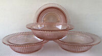 """Pink Depression Glass Queen Mary (4) Rimmed Soup Bowls 7 1/2"""" Anchor Hocking"""