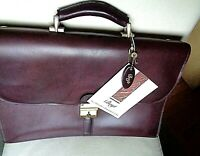 New Boyt Harness Co. of Iowa belting leather briefcase: 2-gusset, locking, stout