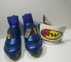 Women's VTG Northwave Blue Arctic  Biking Shoes 2 Clasp US5.5 FR37 Made in Italy