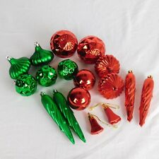 Green & Red Plastic Christmas Holiday Ornaments Lot of 17 Icicle Bell Round
