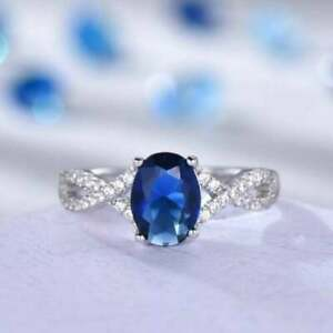 2.23CT Oval Cut Blue Sapphire Engagement Diamond Ring 14K White Gold Over