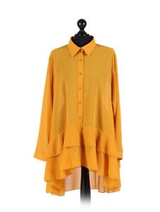 Italian Ladies Quirky Chiffon Collar Plain Basic Button Plus Size Shirt 16-22