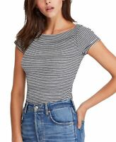Free People Women's Knit Top Blue Size Large L Ahoy Tee Striped $58 #016