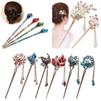 Vintage Women Rhinestone Handmade Hair Stick Hair Chopsticks Hairpin Pin Chignon