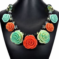 Rose & Mystic Fire Crystal Bib Statement Necklace Handmade Designer Jewellery UK