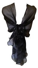 Silky Wrap Stole Shawl With Flower Detail- Weddings Bridal Bridemaids & Evenings